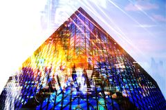 City of London at sunset. Multiple exposure image includes City of London financial aria. UK London. City of London at sunset. Multiple exposure image includes Stock Image