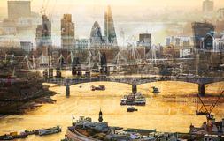 City of London at sunset. Multiple exposure image includes City of London financial aria. UK London. City of London at sunset. Multiple exposure image includes Royalty Free Stock Photography