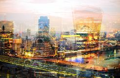 City of London at sunset. Multiple exposure image includes City of London financial aria. UK London. City of London at sunset. Multiple exposure image includes Stock Photo