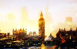 City of London at sunset. Multiple exposure image includes City of London financial aria. UK London. City of London at sunset. Multiple exposure image includes Stock Images