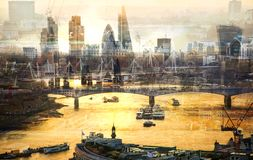 City of London at sunset. Multiple exposure image includes City of London financial aria. UK London. City of London at sunset. Multiple exposure image includes Royalty Free Stock Photos