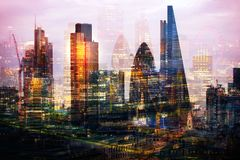 City of London at sunset. Multiple exposure image includes City of London financial aria. UK London. City of London at sunset. Multiple exposure image includes Stock Photos