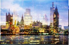 City of London at sunset. Multiple exposure image includes City of London financial aria. UK London. City of London at sunset. Multiple exposure image includes Royalty Free Stock Photo