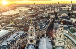 City of London. London at sunset view from St. Paul's Cathedral Royalty Free Stock Images