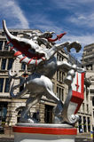City of London Symbol. A dragon holding a shield of St George at one of the entrances to the City of London stock image