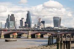 City of London skyline from near Southwark Bridge Royalty Free Stock Photography