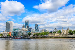 City of London and the Tower of lonodn. City of London. Shows such iconic buildings including the Tower of London, 20 Fenchurch street (the walkie talkie), 30 St Stock Image