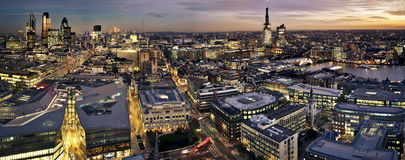 City of London at twilight. London at twilight panoramic view from St. Pauls Cathedral. City of London one of the leading centres of global finance. This view Royalty Free Stock Images