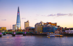 City of London at twilight, Shard, view from the river Thames Stock Photo