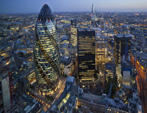 City of London, UK. City of London lit up at night Stock Photography