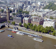 City of London, UK. City of London and the Thames River and the Big Ben tower Royalty Free Stock Image