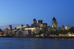 City of London UK from the south bank Royalty Free Stock Image
