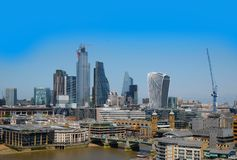 City of London, United Kingdom 6th July 2019: London skyline seen from south bank stock photography