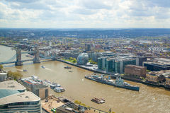 City of London Westminster bridge. Panoramic view from the 32 floor of London's skyscraper Royalty Free Stock Photo