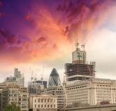 City of London. Wonderful view of Buildings with colourful sky Royalty Free Stock Photography