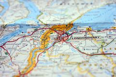 City of Londonderry at the border between Northern Ireland and Irish Republic on a paper map stock photography