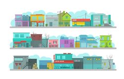 City long street. Set of architecture town buildings. Flat vector graphics. A lot of various details happy bright flat. Day city long street. Set of architecture Royalty Free Stock Image