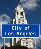 City of Los Angeles. Los Angeles iconic City Hall tower with city limit sign foreground Royalty Free Stock Images