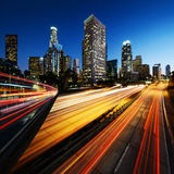 City of Los Angeles California at sunset with light trails Royalty Free Stock Photos