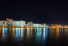 City Loutraki in Greece at night. Travel background Stock Photos