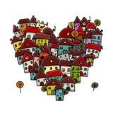 City of love, heart shape sketch for your design Royalty Free Stock Images