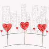 love red hearts in the city. In the city of love romantic Stock Image