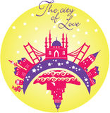 The city of love design. The city of love yellow background Stock Images