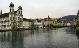 The city of Lucerne in Switzerland. A shot from the river of the city of Lucerne in Switzerland Royalty Free Stock Photos