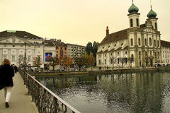 The city of Lucerne in Switzerland. A shot from the river of the city of Lucerne in Switzerland Stock Image