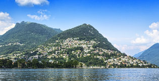 City of Lugano, Bré mountain Royalty Free Stock Images