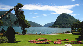City of Lugano, Switzerland. Ciani Park, Lugano, Ticino, Switzerland Royalty Free Stock Photography