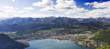 City of Lugano, view from Italy. City of Lugano, view from Sighignola, Italy Royalty Free Stock Images