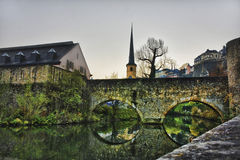 City of Luxembourg. River and old bridge Stock Photo