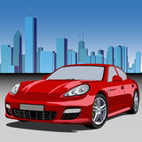 City and luxury car. Urban scene with a modern city and red sport car Stock Images