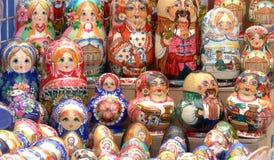 The city Lviv in Ukraine. LVIV, UKRAINE - AUGUST 25: Colorful Russian nesting dolls at the market on August 25, 2011 in Lviv, Ukraine Stock Images