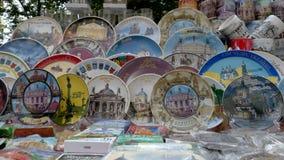 The city Lviv in Ukraine. LVIV, UKRAINE - AUGUST 25: Souvenirs in a table at the market on August 25, 2011 in Lviv, Ukraine Stock Photo