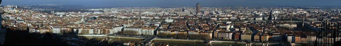 The city of Lyon. France. A panoramic view of the city of Lyon in Winter. Seen from the Fourviere hill royalty free stock photo