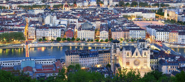 City of Lyon by night. France Stock Photo