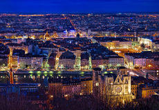 City of Lyon by night. View of Lyon by night, France Stock Images