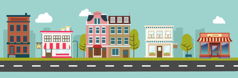 City Main Street And Store Buildings Vector Stock Photography