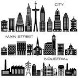 24 City, Main Street and Industrial Buildings icon set. For Print or Web Stock Image