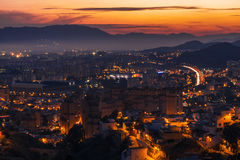 City of Malaga at dusk Stock Photography
