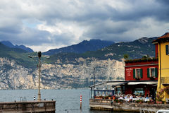 City of Malcesine along with Garda Lake,Italy Stock Images