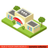 City mall supermarket block flat 3d isometric vector building Stock Image