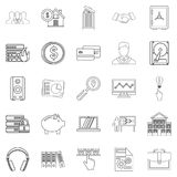 City man icons set, outline style Stock Photos