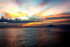 City Manado, North Sulawesi dramatic sky and volcano Royalty Free Stock Images