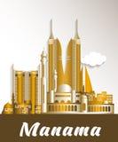 City of Manama Bahrain Famous Buildings. Editable Vector Illustration royalty free illustration