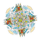 City Mandala 01 A. Handdrawn doodle city mandala image. Decorative ornamental vector illustration in oriental style. Colorful bright concept. Useful for coloring Royalty Free Stock Photos