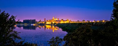 City of Mantova skyline evening panoramic view. European capital of culture and UNESCO world heritage site, Lombardy region of Italy Stock Photos