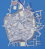 City map. In blue blank Royalty Free Stock Photo